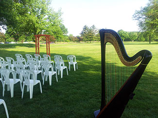 Outdoor Wedding Ceremony Central Illinois Harpist