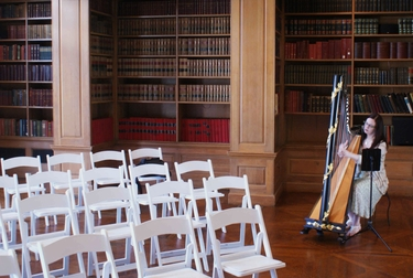 Illinois Harpist at Allerton Park Mansion Library