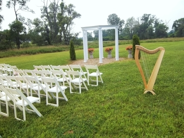 Southwest Michigan Winery Wedding Ceremony Harp Music